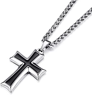HZMAN Mens Stainless Steel Cross Pendant Necklace Flower Basket Chain