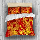 INDREAM Chinese Style Dragon Phinex Duvet Cover Wedding Bedding Set for Bedroom Decoration,Twin/Full/Queen/King Size Bed Sets 3/4 Pieces (1 Duvet Cover with 2 Pillow Shams or Sheet) (TWIN-4PCS,C)