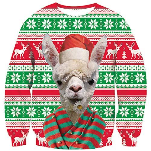 Goodstoworld Hässliche Weihnachtspullover 3D Jumper Sweatshirt Witziger Häßlicher Weihnachtspulli Sweater Mann Frauen Funky Karneval Tops Alpaka M