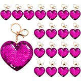 Aneco 24 Pieces Heart Sequin Keychain Glitter Sequin Heart Key Rings Flip Sequin Key Chains Accessories Valentine's Day Gifts Party Favors for Girls, Magenta