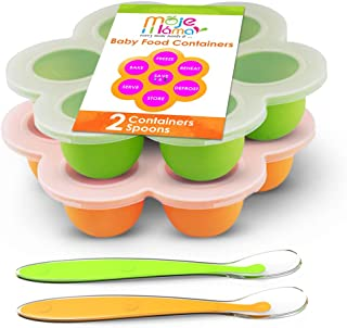 Best Homemade Baby Food Storage Container Freezer Trays - Reusable Food Container Silicon Tray With Clip On Lid - 2 Pack Bundle With 2 Bonus Spoons - BPA Free FDA Approved 2.6 Ounce - Green & Orange