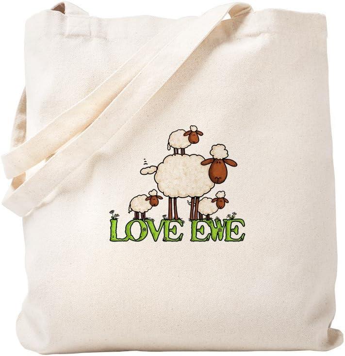 CafePress Love Ewe Tote Bag Natural Canvas Tote Bag, Reusable Shopping Bag