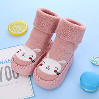 TINAYAU, Calcetines de invierno antideslizantes para bebés y niños pequeños, para interiores, para los primeros caminantes, cálidos, suaves, de algodón, cómodos, para el hogar, para bebés, niños y niñas