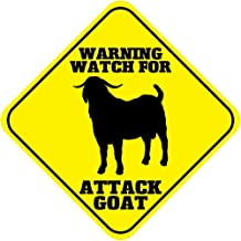 Kent Sparks Metal Road Sign Warning Watch for Attack Goat Crossing Funny Metal tin Novelty Sign.12 x 12 inch Sign.