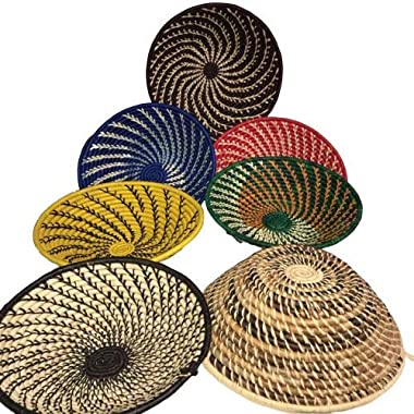 Gitzell Fair Trade Decorative Bowl, African Basket Natural (Multicolor) Fruit Bowl, Swirl Design, Uganda