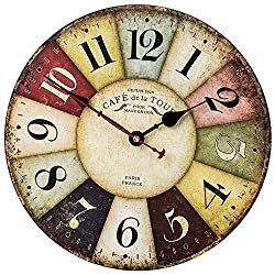 Vintage Farmhouse Wall Clock, French Country Rustic Style Colorful Clock with Arabic Numerals, Silent Non-Ticking Quartz Wood Decor Clock for Kitchen, Living Room, Bedroom, Office(12 Inch, Paris)