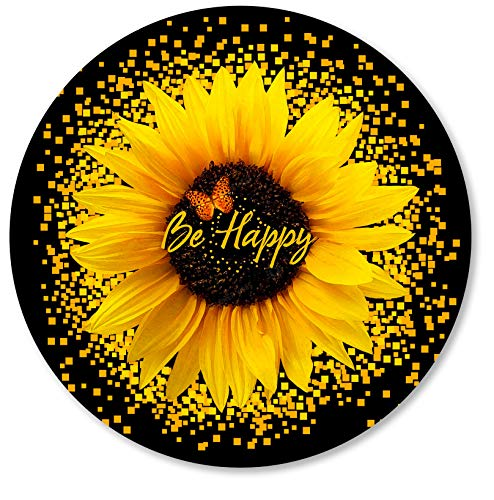 IMAYONDIA Round Mouse Pad, Sunflower and Butterfly Mouse Pad, Yellow Flower Mouse Mat, Inspirational Quote Be Happy Mousepad, Non-Slip Rubber Base MousePads for Office Laptop Computer, 7.9 x 7.9 Inch