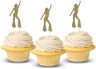 Disco dancing Cup Cake Topper dancer Glitter Card Stock 12 per Pack Cupcake studio 54 dancing machine soul train so you can 70