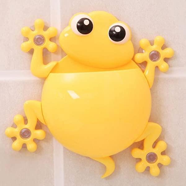 可爱卡通壁虎模型牙刷牙膏架吸盘式牙刷架浴室工具黄色