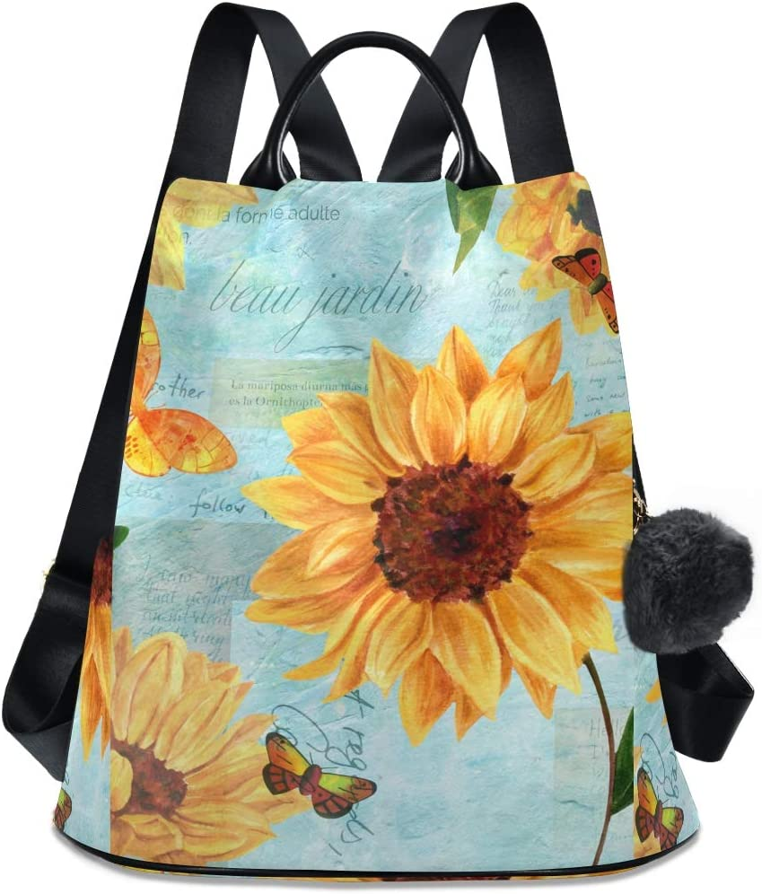Great interest ALAZA Sunflower Newspaper Ranking TOP14 Butterfly Light Dail for Blue Backpack