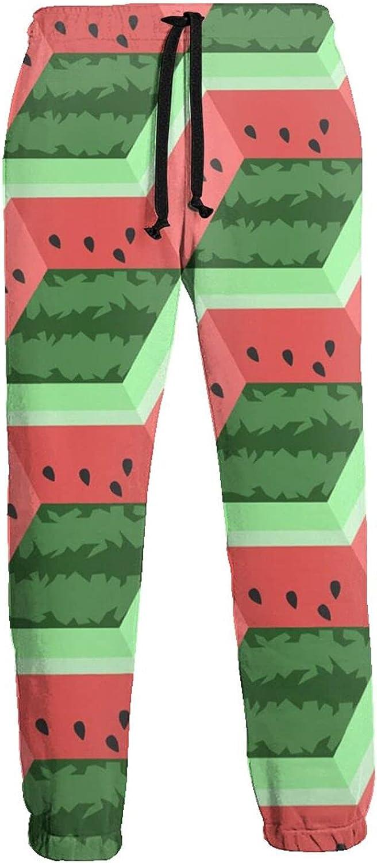 Mens Jogger Sweatpants Watermelon Flat Fruit Lightweight Workout Athletic Joggers Pants Trousers