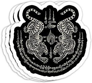 Sak Yant Thai Tattoo Twin Tiger Muay Magical Thailand Gift Decorations - 4x3 Vinyl Stickers, Laptop Decal, Water Bottle Sticker (Set of 3)