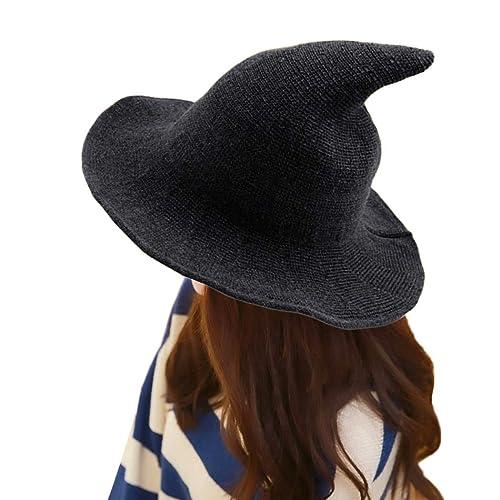 FUNOC Modern Witch Hat Foldable Costume Ball Sheep Wool Halloween Witch Hat b6b5b7f41461