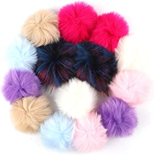 Outuxed 14pcs 5 Inches Faux Fox Fur Pom Poms for Hats with Rubber Band Fluffy Hat Pom Poms for Knitting Hats Scarf Key Ring Bag Accessories (7 Colors, 12cm)