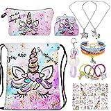 RLGPBON Unicornios Mochila con cordón/Maquillaje Bolsa/Collar de Cadena de aleación/Pulsera/5 Piezas de Lazos para el Cabello Unicornio/Unicornio Drawstring Gift para niñas