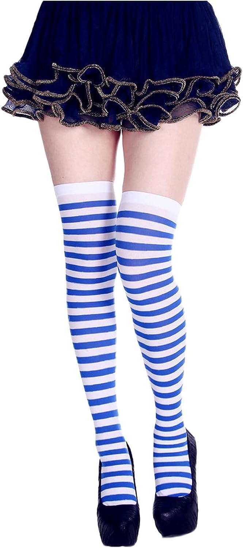 Over Knee Long Socks Striped Thigh High Sock Halloween Cosplay Stocking Vintage Winter Warm Socks for Women Teen Girls