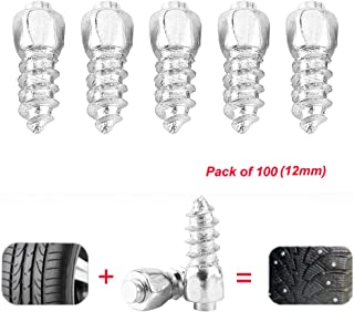 Estink Snow Tire Studs,Anti-Slip Screw Stud Tyre Snow Chains Tire Spikes Trim for Motorcycle Car Truck (Pack of 100,12mm)