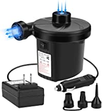 Electric Air Pump, Portable Quick-Fill Inflator Air Pump with 3 Nozzles for Inflating/Deflating Air Mattress Inflatable Bed Boats Padding Pool Toy Swimming Ring 110-240V AC/12V DC