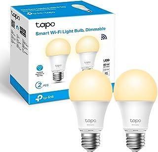 TP-Link TAPO L510E (2-Pack) - Bombilla LED Inteligente, Bombilla WiFi sin necesidad de Hub, Blanco Cálido,Regulable,E27, ...