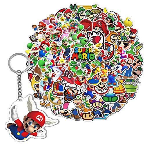 GTOTd 100 pegatinas de Super Mario con llavero de Mario, regalo para ordenador portátil, botella de agua, adolescentes y niñas