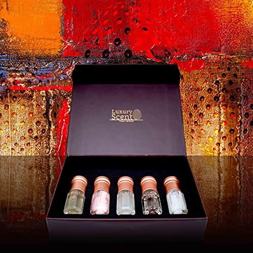 Set de colección de aceite de perfume de almizcle brillante por aroma lujoso con caja de regalo, aroma oriental de madera de color blanco
