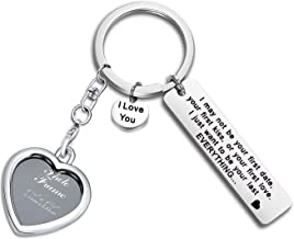 FEELMEM I May Not Be Your First Date Keychain with Photo Frame Couples Love Lettering Keyring Valentines Day Birthday for Him or Her