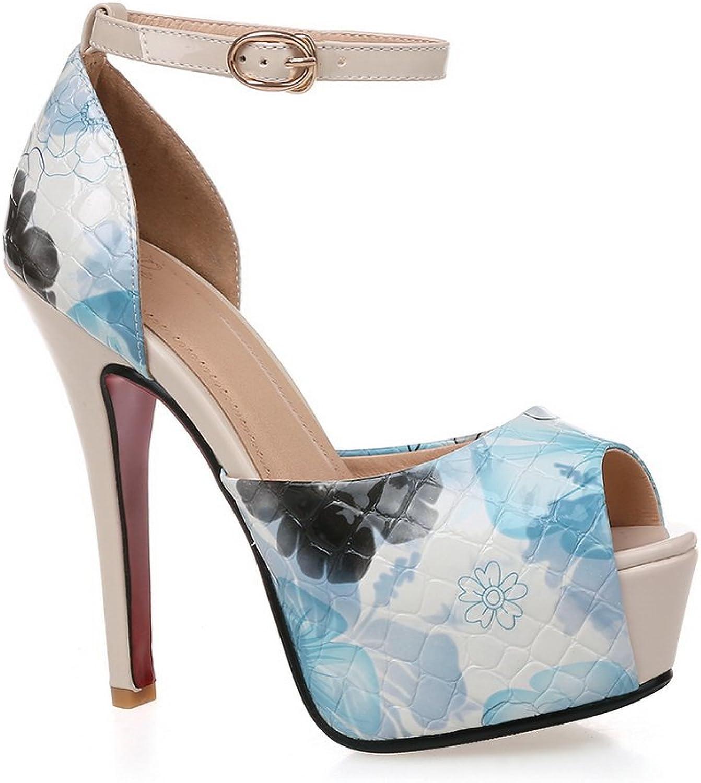 AmoonyFashion Women's Solid PU High-Heels Buckle Peep-Toe Sandals, BUSLS005318