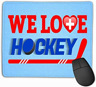 Mousepad Non Slip Rubber Personalized Unique Gaming Mouse Pad 11.81 X 9.84 Inch Swiss ice Hockey Switzerland Winter Sports Love Hockey Poster Heart Symbol Tradition Colors Inked