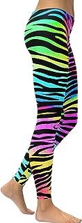 Women High Waist Tummy Control Leggings Colorful Zebra Stripe Digital Print Yoga Pants