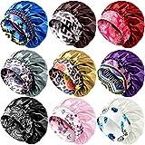 9 Pieces Satin Bonnet Sleep Cap for Women Silky Wide Band Satin Sleeping Caps Night Hat Hair Cover Night Sleeping Hat for Women Curly Natural Long Hair, 9 Styles