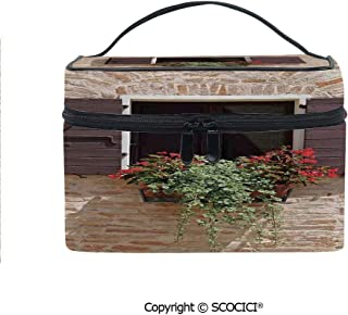 Lightweight Cosmetic Travel Bag Beauty Toiletry Bag Antique Looking Window on an Ancient Stone Wall With Flowers Pienza Tuscany Picture Portable Multi-function Organizer
