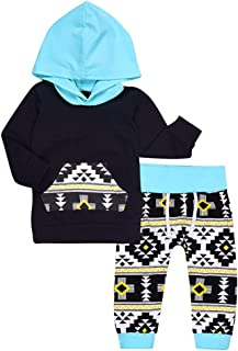 2Pcs Baby Boys Girls Fall Winter Long Sleeve Geometric Print Hoodie and Pants Outfit Set