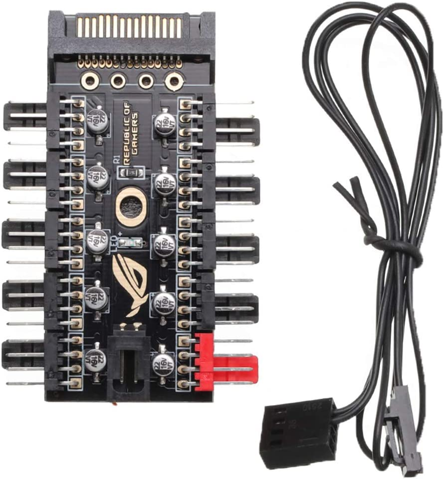 Vokmon Enfriador de Hub 4-Pin Conector PWM PC Enfriador de 4 Pines del Adaptador del regulador de Velocidad del Ventilador del Ordenador HUB Accesorios, SATA