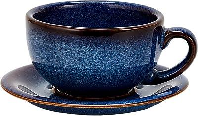 Coffeezone Vintage Design 12 oz Ceramic Latte Art Cappuccino Barista Cup with Saucer (Dark Blue)