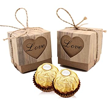 VGoodall Rustic Candy Boxes,50pcs Wedding Favor Boxes,Love Kraft Bonbonniere Paper Gift Boxes with Burlap Jute Twine for Bridal Shower Wedding Birthday Party Rustic Wedding Christmas Decorations