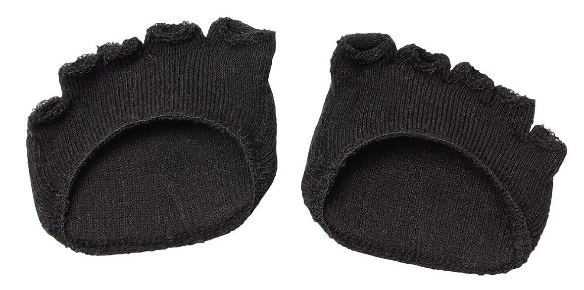 ドル信号レディ綿混サラリ洗える足まめパッド(1足組) ブラック