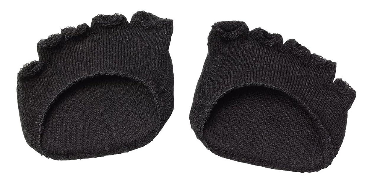 オーバーフロー頭会議綿混サラリ洗える足まめパッド(1足組) ブラック