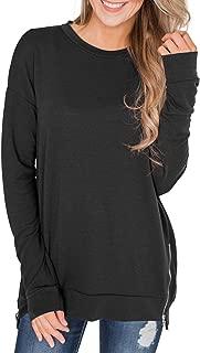 Women Long Sleeve Zipper Side Sweatshirt Round Neck Pullover Tops