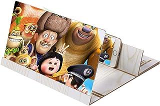 Screen Magnifier Smartphone Screen Amplifier Wooden 3D Phone Enlarger Screen Bracket Desktop Foldable Stand Holder Portable Home Cinema,Brown