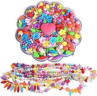 Shuxy 500pcs Acrylic Bead Set DIY Beads Set Round Heart Fruit Shape Loose Beads Kit with Elastic String for Jewelry Making...