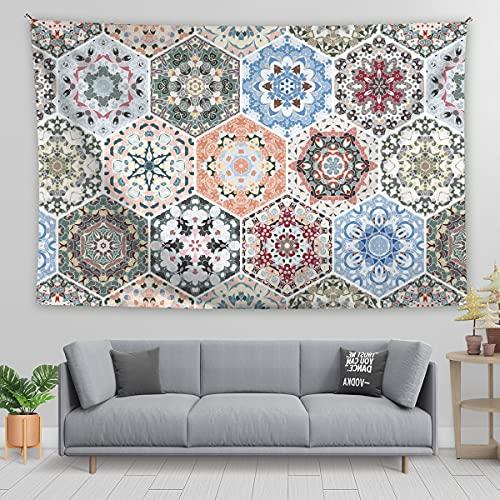 KHKJ Tapiz de Mandala Tapiz Floral boceto Tapiz de Planta de Flor Tapiz Hippie Bohemio para Dormitorio decoración del hogar A17 95x73cm