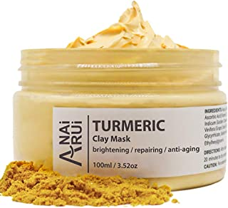 ANAIRUI Turmeric Face Mask, Bentonite Clay Facial Mask with Vitamin C E for Brightening Skin, Ances Control and Refining P...