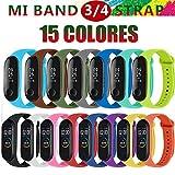 BRone 15 Piezas Correa para Xiaomi Mi Band 4 Pulsera Reloj Silicona Banda Reemplazo Coloridos Compatible con Xiaomi Mi Smart Band 4 Correas para Xiaomi Mi Band 3-15 Colores