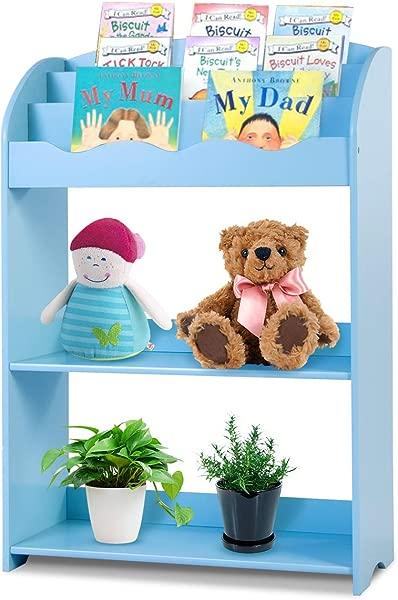 Costzon 儿童书架 3 层书架 2 轮胎玩具组织者儿童卧室游戏室浅蓝色杂志收纳架