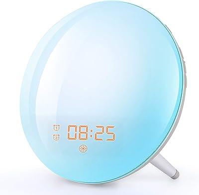 7 farbenfrohe Atmosph/ärenlampe Oyria Wake Up Light Wecker mit Sonnenaufgangs//Sonnenuntergangssimulation Dual Alarm Touch Control Dimmbare Nachttischlampe mit 5 wiederaufladbaren Naturger/äuschen