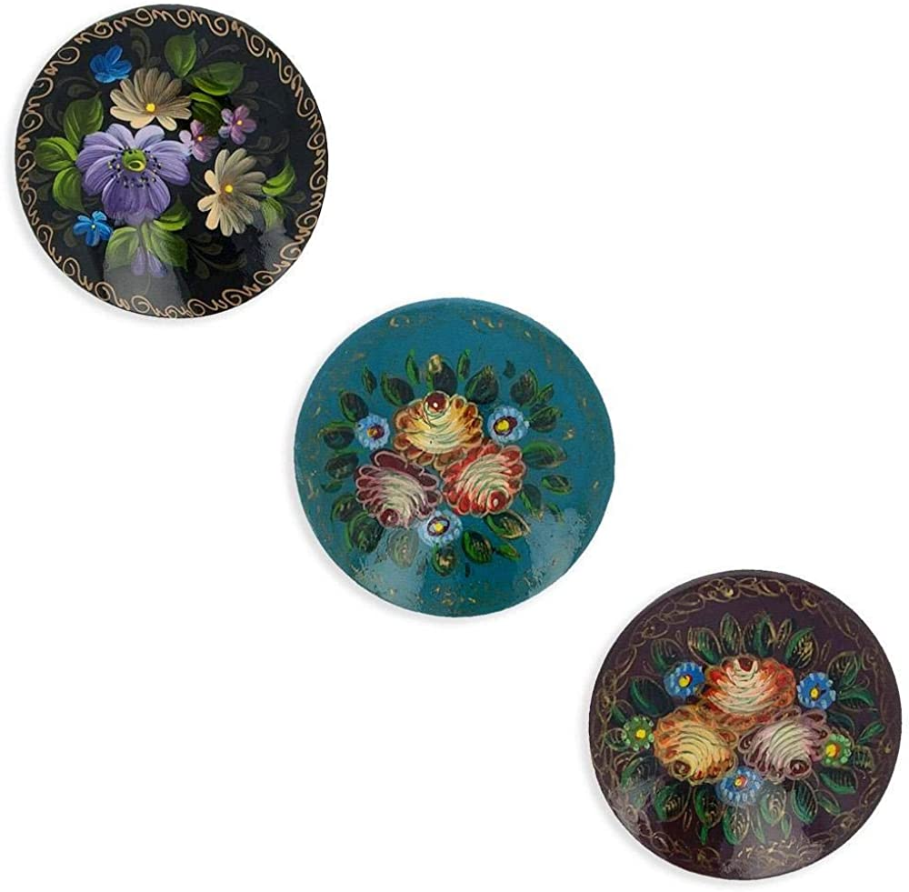 BestPysanky Set of 3 Wooden Hand Painted Round Flowers Brooches 2 Inches