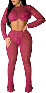 Women's Sexy Bikini Swimsuit Cover Up Mesh See Though Crop Top Long Pants Set 2 Piece Jumpsuits Outfits