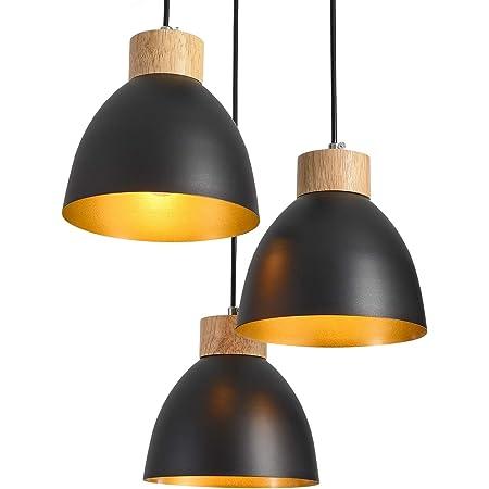 Suspensions luminaires,ONLT E27 60W Aluminium Iuminaires Style Industriel,Noir Suspensions Vintage Industrielle,Plafonnier Vintage Iot,Lampe Cuisine Salon Salle à Manger Chambre (3 flamme)