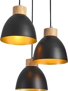 Suspensions luminaires,ONLT E27 60W Aluminium Iuminaires Style Industriel,Noir Suspensions Vintage Industrielle,Plafonnier...