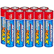 ACDelco UltraMAX 10-Count AAA Batteries, Alkaline Battery with Advanced Technology, 10-Year Shelf Life, Recloseable Packaging